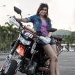 Cute Asian Girl With Motorbike