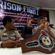 THAILAND - FEBUARY 12 2014: Title belt and guards at press confe