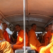 Monks on the Road - Phnom Penh, Cambodia