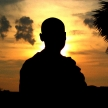 Budhist Monk Silhouette