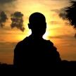 Budhist Monk Silhouette